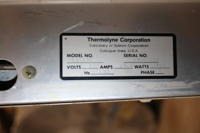 THERMOLYNE OV35135 CONVECTION OVEN INCUBATOR MECHANICAL OVEN